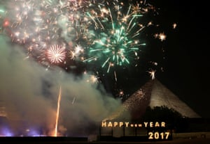 Fireworks above the pyramids on the outskirts of Cairo, Egypt