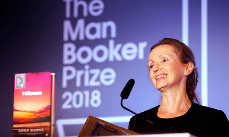 Anna Burns accepts the Man Booker prize.