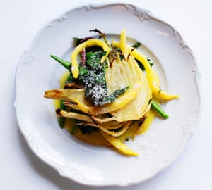 Simple and satisfying: Nigel Slater's warm fennel and spinach, with a parmesan and lemon dressing.
