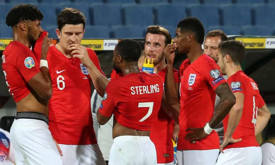Tyrone Mings, Raheem Sterling and Marcus Rashford are visibly upset as the games is held up for a 2nd time due to racist behaviour from the Bulgaria fans during the UEFA Euro 2020 Qualifiers match at Vasil Levski National Stadium