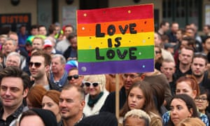 Protesters at a rally in favour of marriage equality in Sydney
