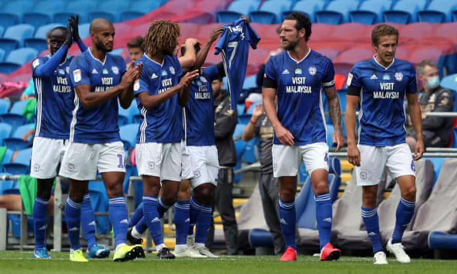 Cardiff's Junior Hoilett celebrates his opening goal against Leeds by paying tribute to former player Peter Whittingham, who passed away earlier this year.