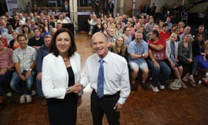 Queensland Premier Campbell Newman and Opposition Leader Annastacia Palaszczuk during a public election forum on Friday night