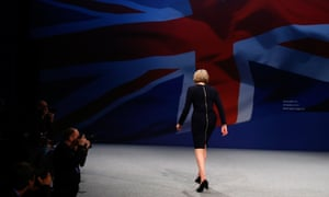 Theresa May leaves the stage at the Conservative party conference in October 2015