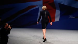 Theresa May leaves the stage after the Conservative party conference in 2015.
