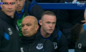 Everton's Wayne Rooney was unhappy at being taken off during the derby against Liverpool