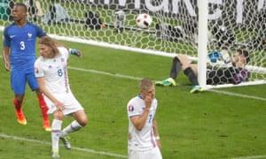 France v Iceland - EURO 2016 - Quarter finalFootball Soccer - France v Iceland - EURO 2016 - Quarter final - Stade De France - Paris Saint-Denis, France - 3/7/16 Iceland's Birkir Bjarnason scores the second goal against France REUTERS/Charles Platiau