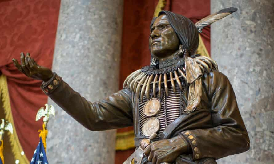 A statue of Ponca chief Standing Bear at the US Capitol. 'This is a morality and justice issue,' attorney Brett Chapman said.