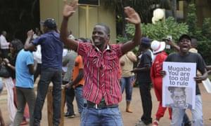 Zimbabweans celebrate in Harare after the resignation of Mugabe.