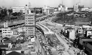 The Miyakezaka underground highway interchange in Tokyo under construction a few months before the 1964 Olympics.