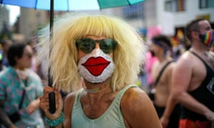 A demonstrator wears a decorated face mask at a joint LGBTQ and Black Lives Matter march in New York, 28 June