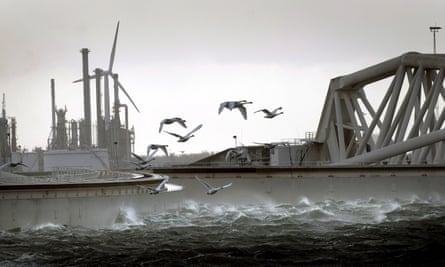 The Maeslant surge barrier in Rotterdam.