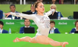 Amy Tinkler, Team GB's youngest member, competes during to the women's floor exercise final.