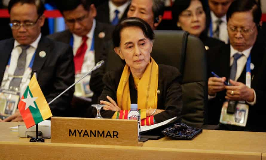 Myanmar's Aung San Suu Kyi looks on during the 9th ASEAN UN Summit. Her country's army has cleared itself of accusations of crimes against Rohingya.