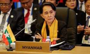 Aung San Suu Kyi looks on during the 9th Asean-UN Summit.
