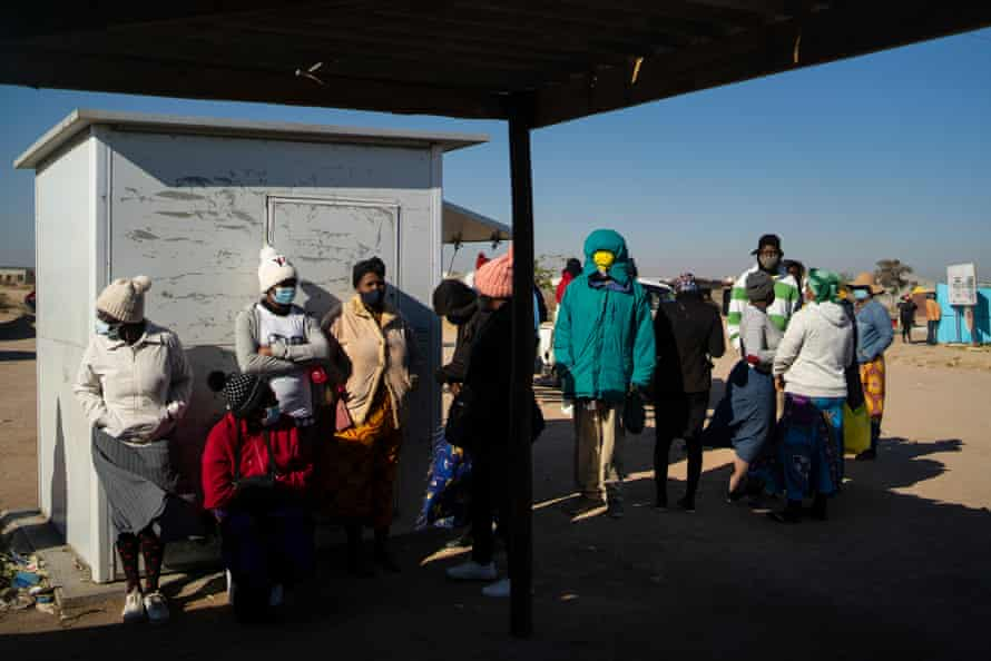 People in Bulawayo, Zimbabwe's second-largest city and main industrial centre, wait to receive vaccines.