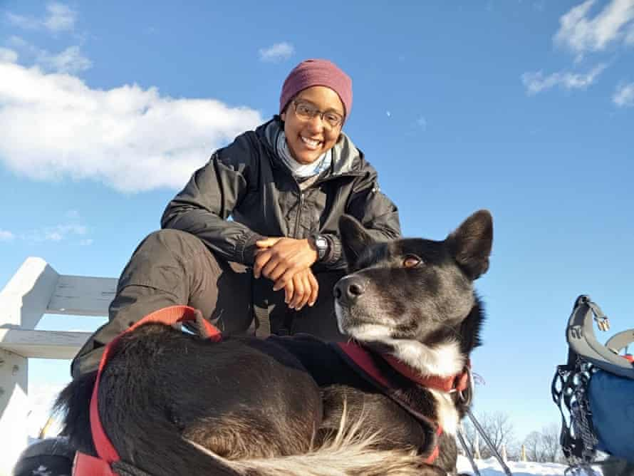 Emily Ford, 28, on the Ice Age trail with Diggins, her Alaskan husky.