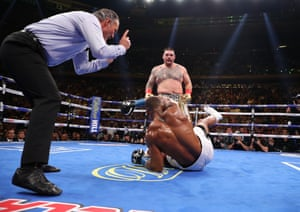 Andy Ruiz Jr knocks down Anthony Joshua in their heavyweight title fight at Madison Square Garden in New York, US