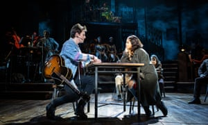 Reeve Carney as a 'fresh-faced' Orpheus and Eva Noblezada as Eurydice in Hadestown.