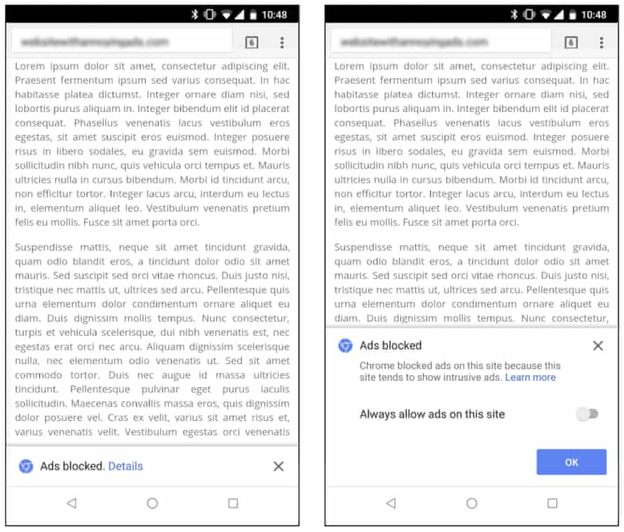 Chrome will notify users when it has blocked ads on a particular site.