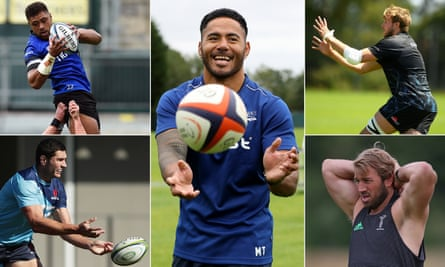 Bath's Taulupe Faletau, Manu Tuilagi of Sale Sharks, Exeter Chiefs' Jonny Gray, Chris Robshaw of Harlequins and new London Irish recruit Rob Simmons.