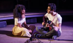Hadestown, New York Theatre Workshop by Anaïs Mitchell. Developed with and directed by Rachel Chavkin. Nabiyah Be and Damon Daunno