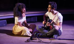 Nabiyah Be and Damon Daunno in Hadestown at the New York Theatre Workshop.