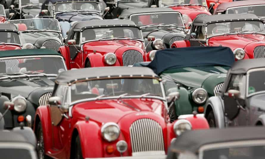 Morgan vehicles at a classic car festival in Cheltenham