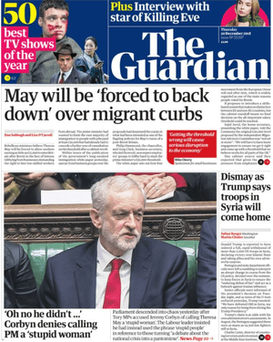 Guardian front page, Thursday 20 December 2018