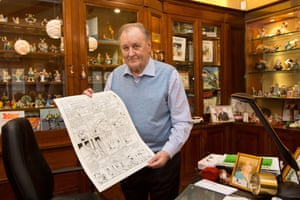 Uderzo donates a drawing to a benefit auction for victims of the Charlie Hebdo attack, Paris, 2015