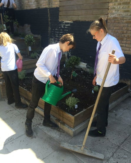 Pupils at Varnden School in Brighton tending one their veg growing areas