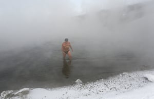Nikolai Bocharov, 77 started winter swimming while doing military service in Germany. 'When I came home from the army, I made an ice hole in the Yenisei and bathed there' he says. 'When I leave the water I feel a prickling sensation all over my body, it feels like I am ready to fly'