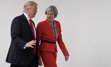 Theresa May with Donald Trump.