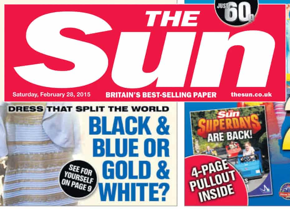 The Sun front page 28 February 2015 featuring #TheDress