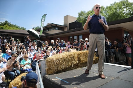 Biden delivers a 20-minute campaign speech at the Iowa state fair. Biden entered the race as the presumptive frontrunner, and has comfortably led the field since.