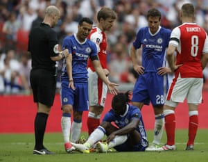 Victor Moses gets sent off for diving.
