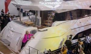 Joanne Lumley launches the Manhattan 66 Sunseeker yacht at the London Boat Show.