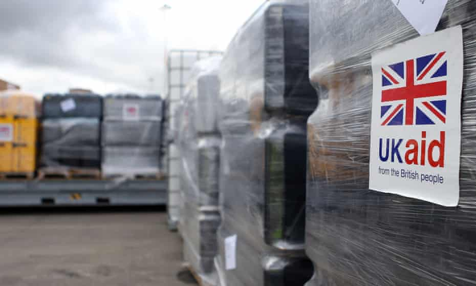 UK Aid cargo waiting to be loaded onto a flight at East Midlands airport, 13 August 2014