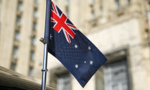 A flag on the car of the Australian ambassador to Russia outside the Russian foreign ministry