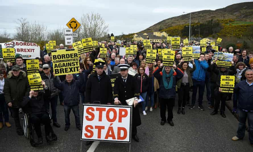 Protests against Brexit at the border between Northern Ireland and the Republic in Carrickcarnon, Louth.