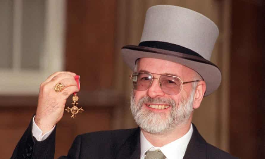 Terry Pratchett with his OBE.