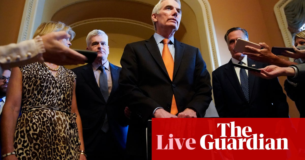 Bipartisan group reaches agreement on 'major issues' of infrastructure bill, Republican says – live