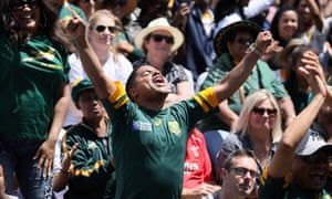 South Africa fans celebrate victory in Cape Town.