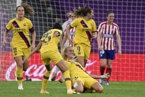 Hamraoui celebrates after her goal.