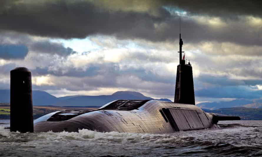The Royal Navy Vanguard class nuclear submarine HMS Vengeance, which carries Trident missiles.