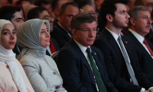 Former Turkish prime minister Ahmet Davutoğlu (centre), with his wife Sare (second left) at the announcement of his new party.
