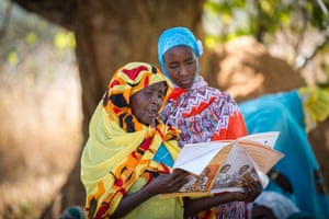 Fatna Abdurhaman (left) discusses newborn care with Nura Mustafa during a mother-to-mother support group held at a Unicef-supported health post in Ashura, in the remote Benishangul-Gumuz region of Ethiopia. The region's newborn mortality rate fell by nearly 50% between 2000 and 2016, from 65 deaths for every 1,000 live births to 35 deaths for every 1,000 live births. The improvement is due in part to the reach and skill of Ethiopia's health extension workers, who provide free pre- and postnatal care at community sites such as this one