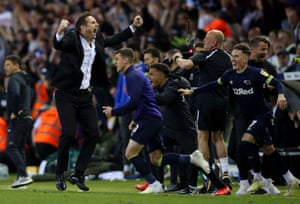 Frank Lampard leads the Derby celebrations.