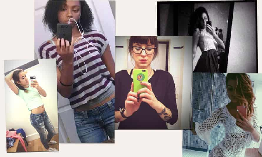 Composite image of women taking selfies
