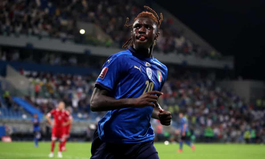 Moise Kean of Italy celebrates scoring his second gaol against Lithuania as Italy extended their record international unbeaten run to 37 matches.